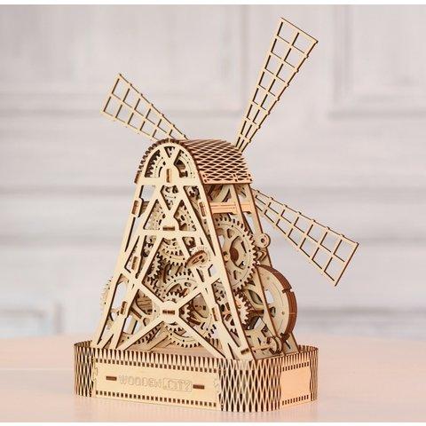 Деревянный механический 3D-пазл Wooden.City Мельница Превью 9